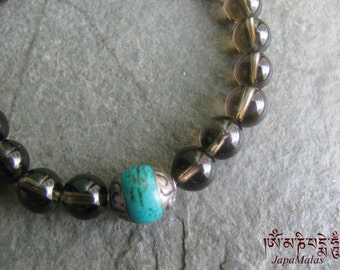 Smoky Quartz Bracelet Mala with turquoise guru bead purified & blessed mala
