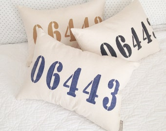 Personalized Zip Code Pillow || canvas || 18 colors, zip code pillow, custom zip code pillow