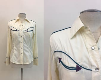 Vintage 1960s Ladies WESTERN Shirt / Womens RODEO Shirt / size M