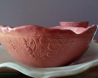 Handmade ceramic bowl pink lace Bowl