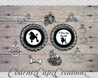 10pc Poodle Dog Charm Set/Lot/Collection with Bottle Caps / Jewelry, Scrapbooking, Crafts / Jewelry and/or Crafting Kit / Choose Images