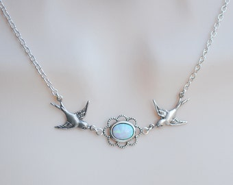 Opal Necklace, Swallow Necklace, Bird Necklace, Bird by Bird, Bird Pendant, Silver Bird, Vintage Style Necklace, Facing Birds N635