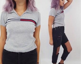 90's Tommy Hilfiger LOGO Polo Tee - Small Medium Womens Tommy Tshirt - Gray Tommy Hilfiger Shirt - Collared Short Sleeve