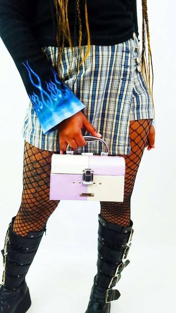 90's Purple Pastel Mini BOX Purse - Princess Kawaii Girly Bratz Iridescent Caboodle Purse - Small Rigid Hard Shell Jewelry Toiletry Case
