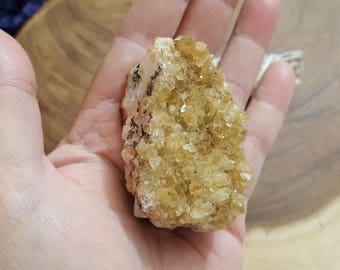 Citrine Cluster (Druze) ~ 1 Reiki infused cluster approximately 2.3x1.4x1 inches (CD53)