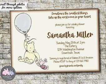 Classic Winnie the Pooh Bear Baby Shower Invitation, Pooh Baby Shower Invitation Baby Boy or Baby Girl Shower Invitation 5x7 - Printable