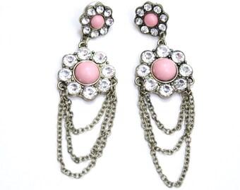 Pink Floral Statement Earrings Chunky Rhinestone Dangle Earrings