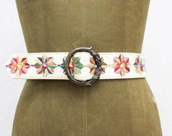 60s Embroidered Leather Belt - Vintage 1960s Boho Cinch Belt