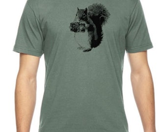 Squirrel Photographer Graphic Illustration Gifts For Nature Lovers Unique Art, Birthday Gift, American Apparel Fine Jersey T-shirt Rc13705