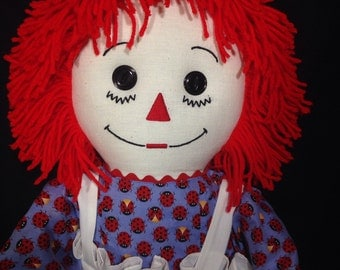 30 Inch RAGGEDY ANN Doll, Handmade, Red Hair, Blue dress with Red Ladybugs,Embroidered Apron, optional personalization
