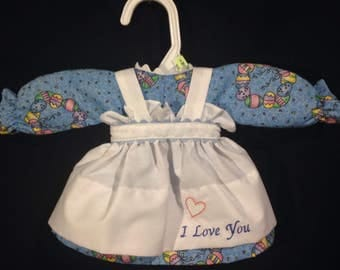 Dress and Apron for 15 INCH Raggedy Ann Doll; Blue Easter print dress with embroidered apron