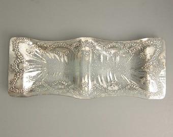 Vintage Mid Century Dorothy Thorpe Sterling Silver Atomic Splash Slump Glass Divided Glass Tray Platter