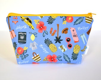 Gifts Under 20, Blue Zipper Bag, Pineapple Zip Pouch, Small Cosmetic Bag, Rifle Paper Co Fabric, Handbag Organizer, Makeup Bag Gifts for Her