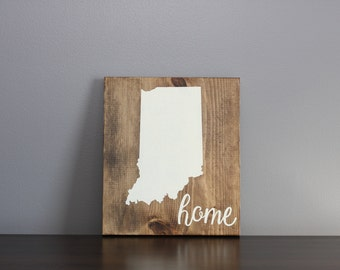 Home State Wood Sign | State Signs | Indiana Sign