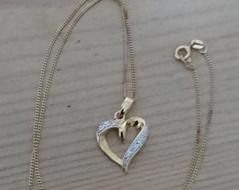 Vintage gilded sterling silver heart pendant and chain