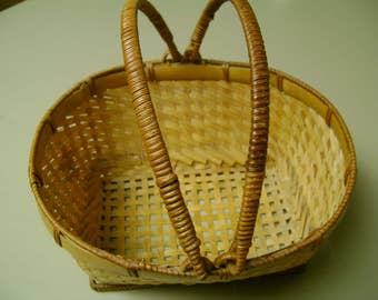 Vintage Basket Rattan 8 Inch with Handles Lovely Well Made