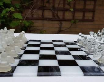 Large Chess Board, 40cm Square Glass Chess Set, Fused Glass, Handmade in the UK, New Home Housewarming Gift, Wedding Gift for Parents,