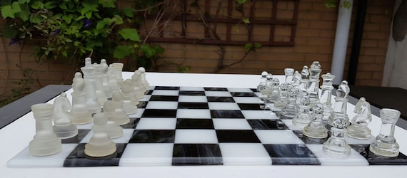 Large Chess Board 40cm Square Glass Chess Set Fused Glass