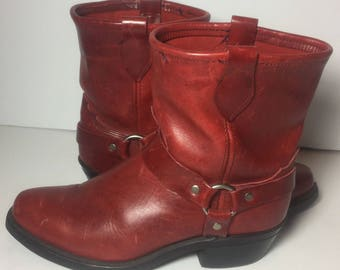 Harness Red Leather Pull On Riding Biker Motorcycle Boots Women's Size 8.5