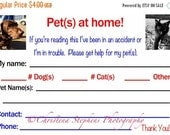 Pet Emergency Cards -  Pet(s) at Home Identification Card - Pet Safety Cards
