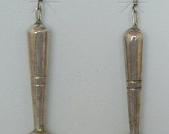 Navajo Sterling Slver Handmade Dead Pawn Native American Long Earrings
