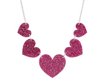 Heart String Necklace - Pink Glitter Acrylic Heart Charm Necklace