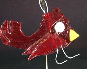 Red fused glass bird (rb17a)
