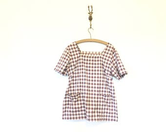 Plaid Cotton Smock / Plaid Shirt with Pockets