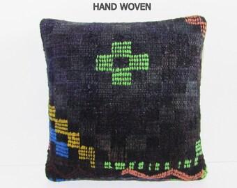 HAND WOVEN black boho tapestry upholstery fabric designer rug striped antique rug boho chic fabric geometric cushion dark kilim pillow D2662