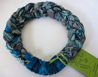 """A Sari Silk Braided Headband in subtle shades of blue, black, and silver silk chiffon - """"jewelry for your hair""""."""