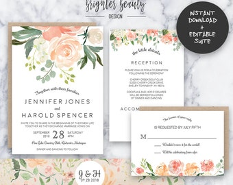 Spring Garden Wedding Invitation Suite | INSTANT DOWNLOAD | Editable PDF| Do It Yourself | Printable