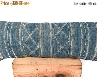 """SALE 16x36"""" Vintage Indigo African Mudcloth Pillow Cover Shibori Mud Cloth Lumbar Pillow"""