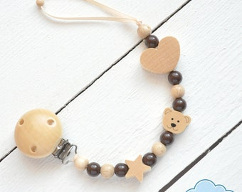 Pacifier clip wood, Personalized pacifier clip, Dummy clip, Soothie pacifier holder