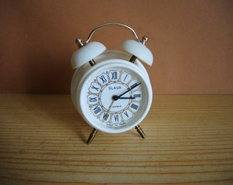 Rare Vintage white in gold dial small Mechanical alarm CLOCK SLAVA / Made in USSR in 1980s / Soviet timepieces with top bell / collectible