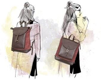 Backpack purse bag, Woman shoulder bag, Leather bag, 2 in 1 backpack purse, For her, Backpack purse, Tote bag, Crossbody bag, Gift for her