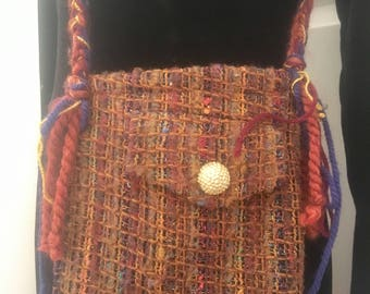 Handmade vintage up-cycled felted wool fall sweater purse messenger bag