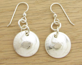For 60th: 1957 US Dime Earrings 60th Birthday or 60th Anniversary Gift Coin Jewelry