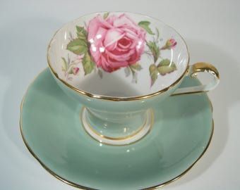 Aynsley Tea Cup and Saucer,  Aynsley Large Pink Rose tea cup and saucer, Sage Green tea cup and saucer with a Large pink rose.