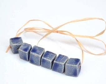 Handgemaakte Keramische Kraaltjes Blokjesvorm in ZachtBlauw