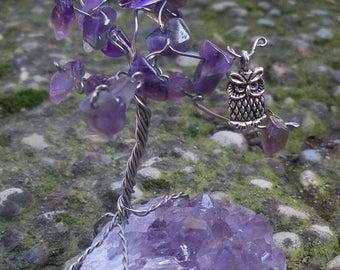 Druzy Amethyst with Owl