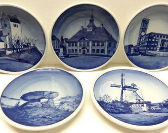 Royal Copenhagen Mini Plates (5), Denmark Blue & White Collector Mini Plaquettes