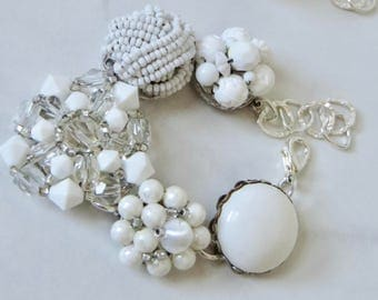 White Cluster Bracelet Hand Crafted Repurposed Vintage Cluster Earrings to a Bracelet White