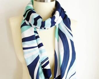 Dark Blue Light Blue Scarf Geometric Scarf, Stripes Scarf, Striped Scarf, Blue, Womens Scarf, Unique Scarf, Women Gifts Idea, Moms Gift
