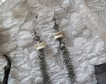 Mystic Foam . earrings fish vertebrae & Swarovski crystals bones jewelry pagan mermaid witchcraft magic boho .