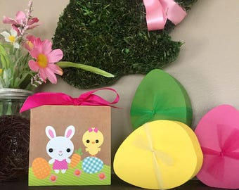 Lil' Easter Bunny and Easter Chick (Yellow) 4x4 Easter Wood Block