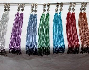 Chain tassel clip-on earrings;Non-pierced earrings;Long earrings;Chain earrings;Pierced chain earrings;Colorful earrings;Shoulder earrings