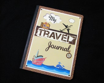 SALE 3.00 Off - TRAVEL Journal - Altered Composition Book - Handcrafted Journal, Vacation, Cruise, Travel Diary - Only ONE Available!