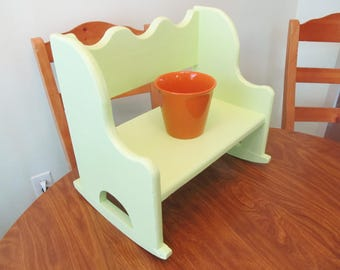 Recycled wood rocking chair, indoor plant stand, plant holder, lime green, unique decorating, recycled in USA, sun porch planter