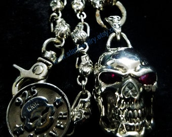 Steampun Large skull necklace with red gem eyes lucky skull necklace