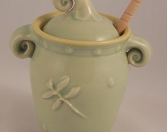 Honey Pot - Choose any of my 4 colors (Yellow, Celadon, Lavender, and Tangerine) with Flowers or Dragonflies. Complimentary honey stick!